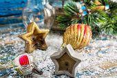 stock photo of kerosene lamp  - retro old-fashioned kerosene lamp and Christmas toys ** Note: Shallow depth of field - JPG