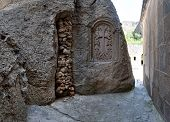 pic of grotto  - View from a grotto in the ancient Armenian temple complex Geghard - JPG