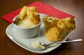 picture of cream puff  - The filling is a sweet little puffs composed of a shell of choux pastry filled with cream - JPG