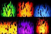 image of plasmatic  - Set of burning fire generated textures or background - JPG