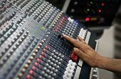 foto of recording studio  - Pro audio mixing pult at a recording studio