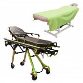pic of stretcher  - massage bed and stretcher under the white background - JPG