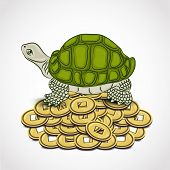 stock photo of tortoise  - Chinese symbol of wealth tortoise standing on the heap of coins on grey background - JPG
