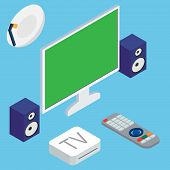 foto of home theater  - Vector illustration of home theater system with TV and speakers on blue background - JPG