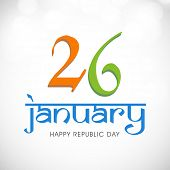 image of indian independence day  - Happy Indian Republic Day celebrations with text 26 January on shiny background - JPG