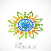 stock photo of rangoli  - Beautiful rangoli design made by national tricolor with Ashoka Wheel for Indian Republic Day celebration on white background - JPG