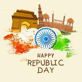 image of ashoka  - Indian Republic Day celebration concept with Ashoka Wheel - JPG