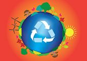 stock photo of reuse  - Conceptual vector illustration for go green recycle reuse and sustainable energy - JPG
