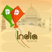 stock photo of nationalism  - National tricolor kites for Indian Republic Day celebration on famous historical monuments background - JPG