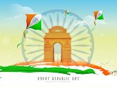 stock photo of india gate  - Flying kites in national flag color with India Gate and Ashoka Wheel on nature view background for Indian Republic Day celebration - JPG