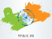 stock photo of ashoka  - Happy Indian Republic Day celebration concept with Ashoka Wheel and famous historical monuments made by national flag color splash - JPG