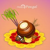stock photo of rangoli  - Traditional mud pot with rice - JPG