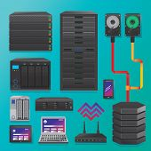 picture of hardware  - Big data servers and hardware objects in vector - JPG