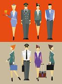 stock photo of flight attendant  - Flight team captain and attendants in different poses - JPG