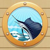 stock photo of sailfish  - Illustration of sailfish jumping out of a water in a wessel window - JPG