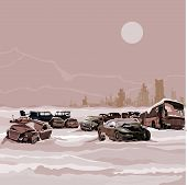 pic of nuclear disaster  - Dump wrecked cars nuclear winter postapokalipsisa against the backdrop of the ruined city - JPG
