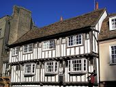 Old English medieval timber framed house poster