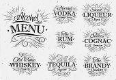 foto of vodka  - Set alcohol menu beverages lettering names in retro style vodka - JPG
