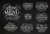 stock photo of alcoholic beverage  - Set alcohol menu beverages lettering names in retro style vodka - JPG