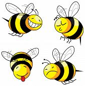 picture of bee cartoon  - four emotion bee comic character series  - JPG