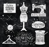 image of coiled  - Sewing symbol in retro vintage in chalk lettering mannequin - JPG