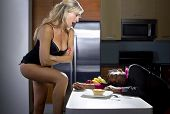 pic of libido  - boring male falls asleep during dinner while woman is seducing him - JPG