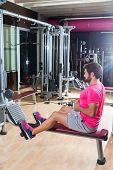 picture of pulley  - seated cable row man rows at gym low pulley machine workout exercises - JPG