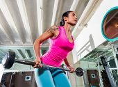 foto of bent over  - Barbell bent over row supine grip woman workout at gym exercise - JPG