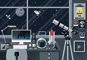 foto of planetarium  - Flat modern design vector illustration concept of creative office workspace workplace - JPG