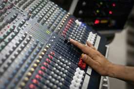foto of recording studio  - Pro audio mixing pult at a recording studio  - JPG