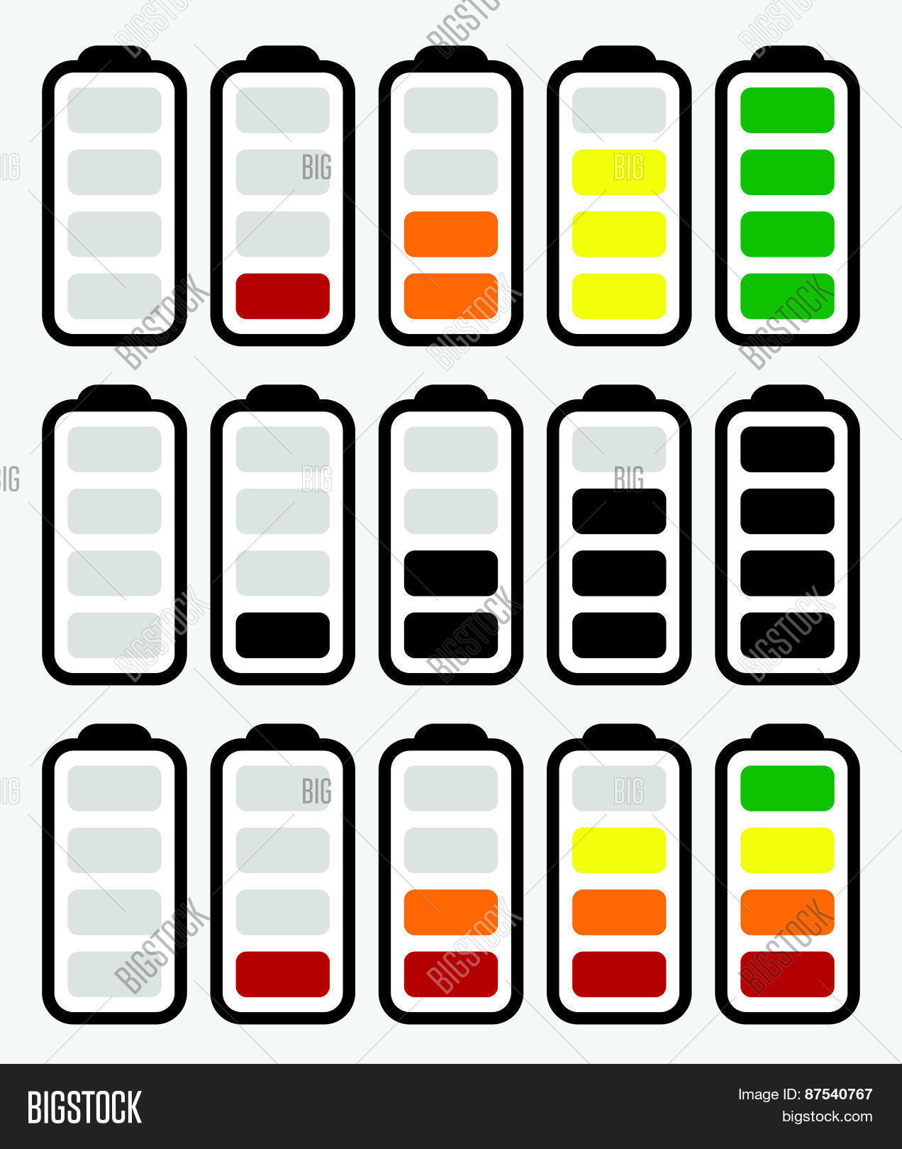 Windows 8 1 Set Battery Charge Level : Battery level indicator symbol set vector photo bigstock
