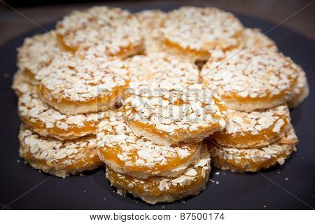 Apricot Cookies On Wooden Table