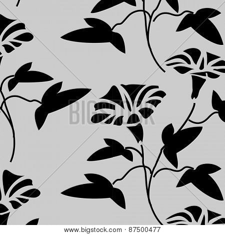 Bold, black and white vector pattern made with floral elements.