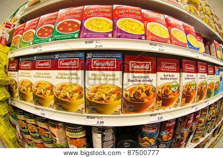 Campbells Soup In A Store Shelf
