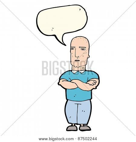 cartoon annoyed bald man with speech bubble