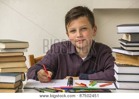 Elementary school student doing homework.