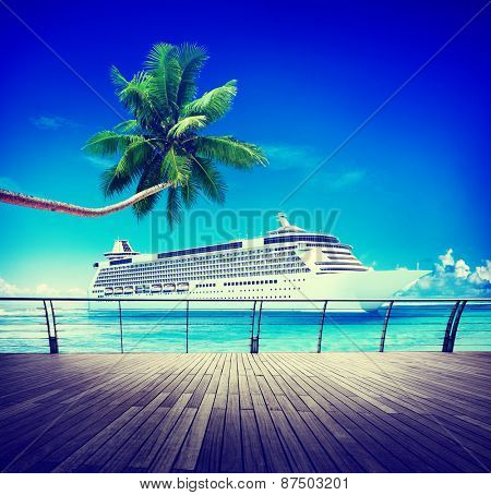 Summer Seascape Skylline Cruise Sea Route Destination Concept