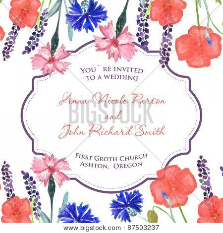 Watercolor painted wedding invitation. Cornflower, lavender, sweet pea  and poppy flowers pattern.