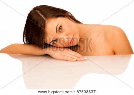 Beauty Studio Portrait Of Attractive Caoucasian Woman With Brown Hair Isolated Over White Background