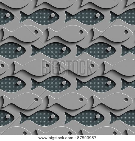 Seamless Fish Pattern. Abstract Gray Background. Vector Regular Texture