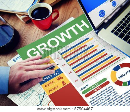 Growth Businessman Working Calculating Thinking Planning Paperwork Concept