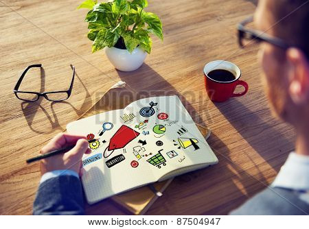 Businessman Branding Marketing Strategy Writing Concept