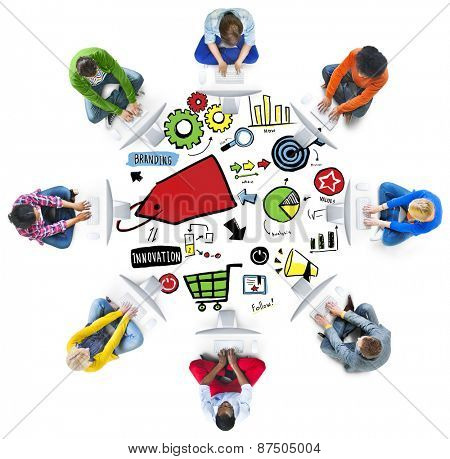 Diversity Casual People Branding Team Technology Communication Concept