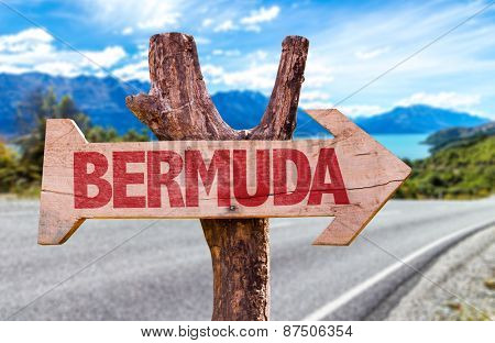 Bermuda wooden sign with road background