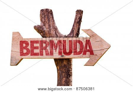 Bermuda wooden sign isolated on white background