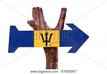 Barbados Flag wooden sign isolated on white background