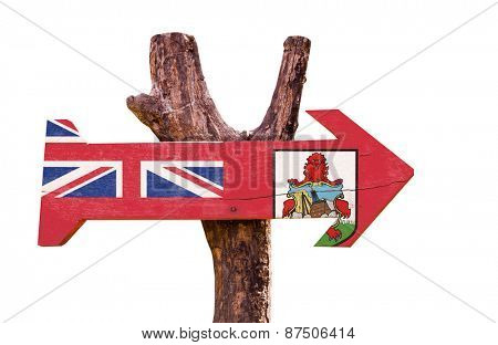 Bermuda Flag wooden sign isolated on white background
