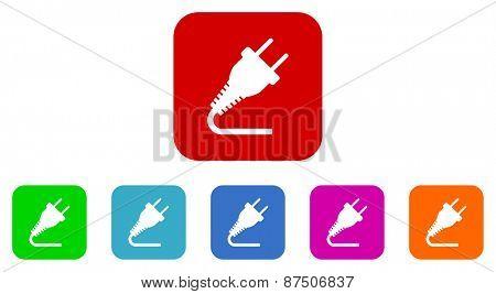 plug vector icon set