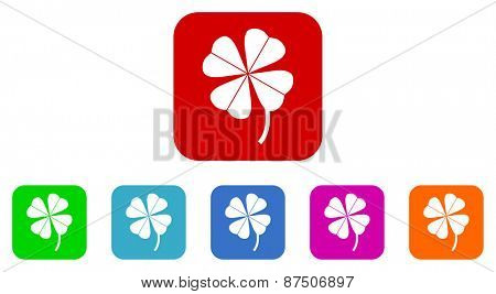 four-leaf clover vector icon set