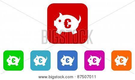 piggy bank vector icon set